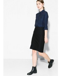 Mango Outlet Outlet Pencil Wool Blend Skirt
