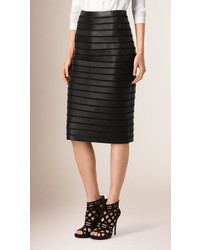 Burberry Panelled Bonded Lambskin Pencil Skirt
