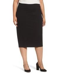 Sejour Plus Size Zip Vent Midi Pencil Skirt