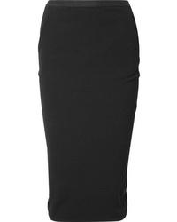 Rick Owens Stretch Cotton Blend Crepe Midi Skirt