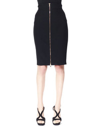 Alexander McQueen Zip Front Crepe Pencil Skirt Black