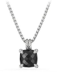 David Yurman 11mm Chtelaine Onyx Pendant Necklace With Diamonds