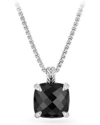 David Yurman 14mm Chtelaine Onyx Pendant Necklace With Diamonds