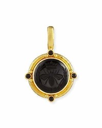 Elizabeth Locke 19k Queen Bee Carved Onyx Pendant