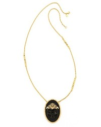 Alexis Bittar Agate Skull Cameo Pendant Necklace