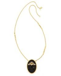 Alexis Bittar Agate Skull Cameo Pendant Necklace