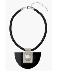 Topshop Braided Leather Collar Necklace With Semi Circle Stone Pendant