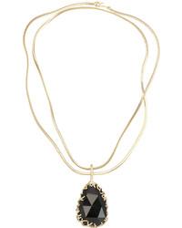 Kendra Scott Branch Bezel Black Tourmaline Pendant Necklace