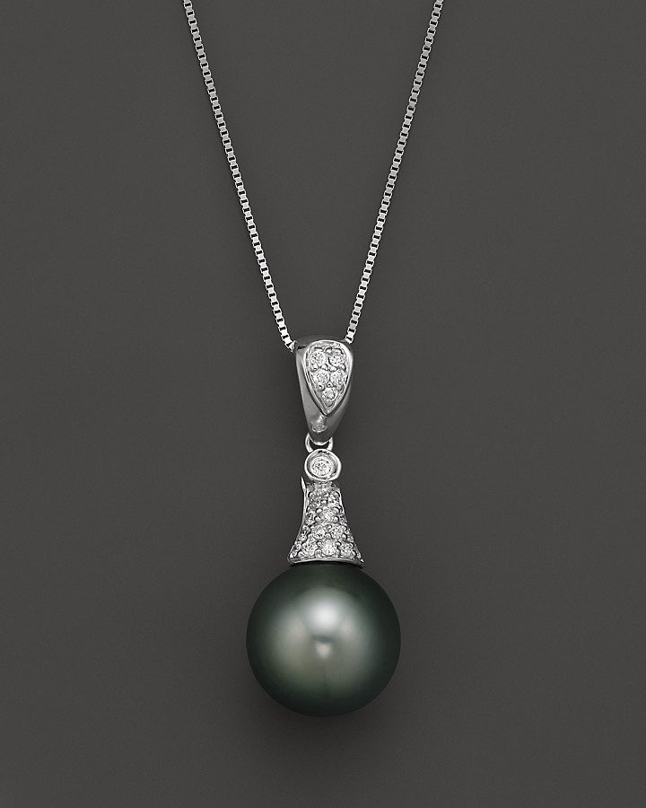 Bloomingdales diamond and tahitian pearl pendant necklace in 14k bloomingdales diamond and tahitian pearl pendant necklace in 14k white gold 18 aloadofball Image collections