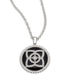 De Beers Enchanted Lotus Reversible Diamond Black Tourmaline Pendant Necklace