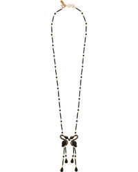 Etro Gold Plated Swarovski Crystal And Resin Necklace Black