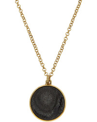 Nakamol Golden Round Druzy Pendant Necklace Black