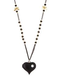 Betsey Johnson Pot Black Heart Pendant Necklace