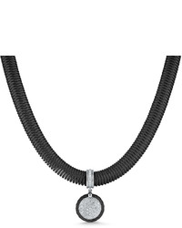 Alor Spring Coil Cable Round Diamond Pendant Necklace Black 051 Tcw