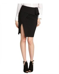 Aryn K Black Stretch Peplum Skirt With Side Slit