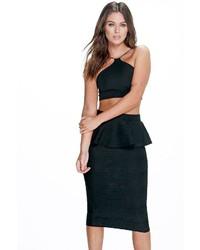 Boohoo Lola Textured Peplum Midi Skirt