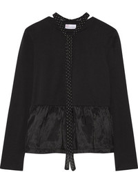 RED Valentino Redvalentino Pussy Bow Satin Jersey Paneled Cotton Jersey Peplum Top Black