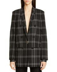 Alexander Wang Leather Cuff Oversized Plaid Blazer
