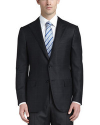 Ermenegildo Zegna Textured Windowpane Check Blazer Black