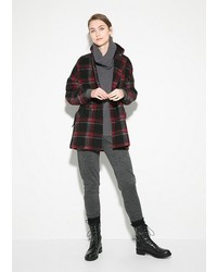 Check wool blend coat medium 152076
