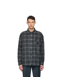 Noon Goons Black And Grey Corduroy Plaid Baseline Shirt