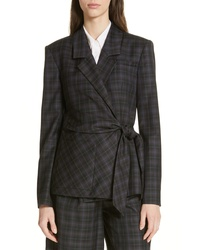 Tibi Marvel Plaid Wrap Jacket