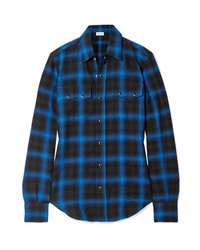 Saint Laurent Checked Cotton Blend Flannel Shirt