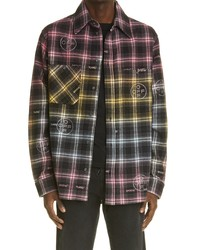 Off-White Crystal Logo Check Flannel Button Up Shirt