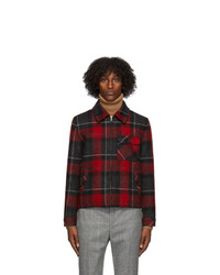 Saint Laurent Red And Black Wool Trapper Jacket