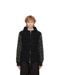 Undercover Black Wool Checkered Hood Jacket