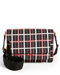 Black Plaid Leather Crossbody Bag
