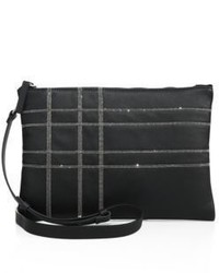 Brunello Cucinelli Monili Plaid Leather Crossbody