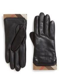 Black Plaid Leather Gloves