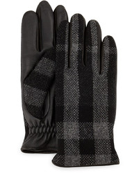 Burberry Oscar Wool Leather Check Gloves