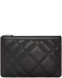 Burberry Black Embossed Check Zip Pouch