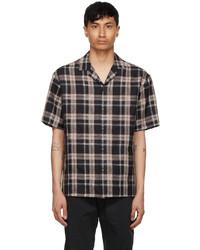 Z Zegna Black Brown Checkered Linen Short Sleeve Shirt