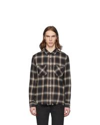 Amiri Beige And Black Shadow Plaid Shirt