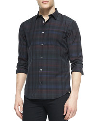 Vince Multi Plaid Long Sleeve Shirt Black