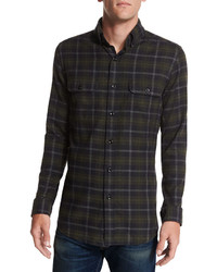 Plaid flannel sport shirt blackgreen medium 457752