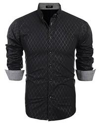 COOFANDY Slim Fit Dress Shirt Long Sleeve Wrinkle Free Business Plaid Button Down Collar Shirt
