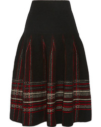 Plaid stretch terry midi skirt medium 126045
