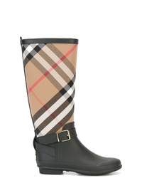 Burberry Belt Detail Check And Rubber Rain Boots