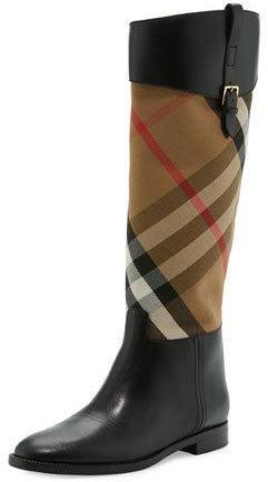 b186262d0d7f8 Burberry Copse House Check Rain Boot Black, $995 | Neiman Marcus ...