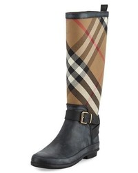 Burberry Simeon Check Print Rain Boot Black
