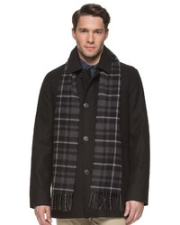 Dockers Big Tall Wool Blend Car Coat With Plaid Scarf