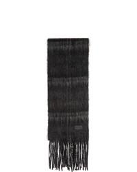 Saint Laurent Black And Grey Tartan Medium Scarf