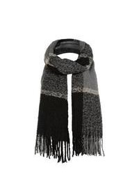 New Look Black Large Check Longline Blanket Scarf