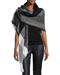 Neiman Marcus Plaid Print Square Scarf Black