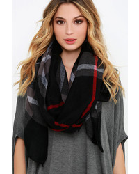LuLu*s Back To Class Black Plaid Scarf
