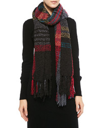 Michl stars softest plaid fringe scarf black medium 129807